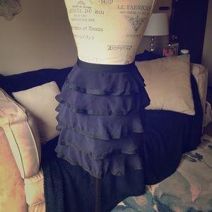 Skirts - Dark Blue Ruffled Skirt
